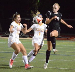 As seem from a game last year, the No. 3 Westfield girls soccer team defeated No. 4 Chicopee Comp, 2-0, Thursday evening. (MEREDITH PERRI / MASSLIVE)