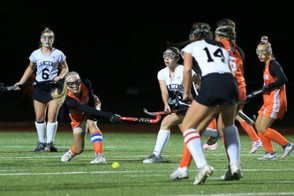 The Longmeadow field hockey team, shown in a prior game, lost in the State D-I semifinals against Nashoba, 4-0, Tuesday evening. (DOUG STEINBOCK / MASSLIVE)