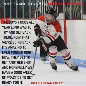 The Pope Francis boys hockey team will face BC High in the Super 8 championship on Sunday, March 17 at the TD Garden. (Graphic by Alex Francisco)