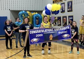 Shown above is Mount Everett girls basketball star, Gwendolyn Carpenter, after recording her 2,000th career point against Lee on senior night Tuesday. (This photo is courtesy of Stephen Dravis)