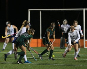 The Greenfield field hockey team, shown in a prior game, were defeated by Dennis-Yarmouth during Saturday's D-II state championship game, 3-2. (DOUG STEINBOCK / MASSLIVE)