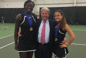 Tashanna Smith, coach Mark Sigmon and Natalie Sinai after the duo won the District 11 Class 3A doubles title. (Courtesy photo)