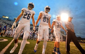 Nazareth captains Tommy Manos, Nick Viva and Cole Osmun take the field. (Chris Shipley | For lehighvalleylive.com)