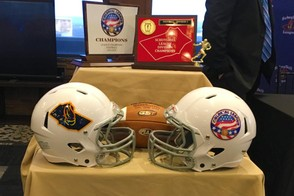 Schuylkill and Colonial League logos on football helmets at Thursday morning's news conference at Blue Mountain Resort in Palmerton. (Josh Folck | For lehighvalleylive.com)