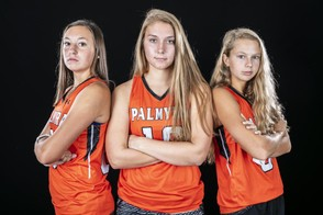 Lauren Wadas, left, Madison Warner and Nicole Shank have helped steer Palmyra to Saturday's Class 2A title match. (PennLive)