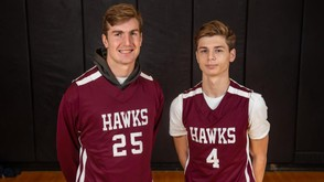 Central Square's Tim Giblin (right) had a team-high 20 points and six assists in the Red Hawks 55-51 win over Jamesville-DeWitt on Tuesday. (Photo by N. Scott Trimble)
