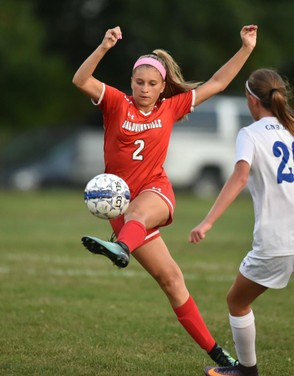 Baldwinsville's Hannah Mimas (shown during a 2017 contest) scored the game-winning goal in double-overtime on Tuesday to give the Bees a 3-2 victory against Fayetteville-Manlius. (Photo by Scott Schild)