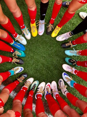 """The New Hartford and Whitesboro girls soccer teams sported rainbow-colored shoelaces for their """"Play with Pride"""" contest on Thursday. The Warriors got a late game-winner from Alyssa Dellaposta. (Photo courtesy of Frank DuRoss Jr.)"""