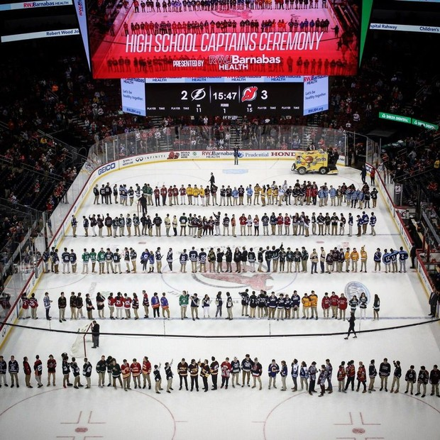 NJ H.S.: N.J. Devils Honor H.S. Captains From Around The State During 'Captains' Night' Event