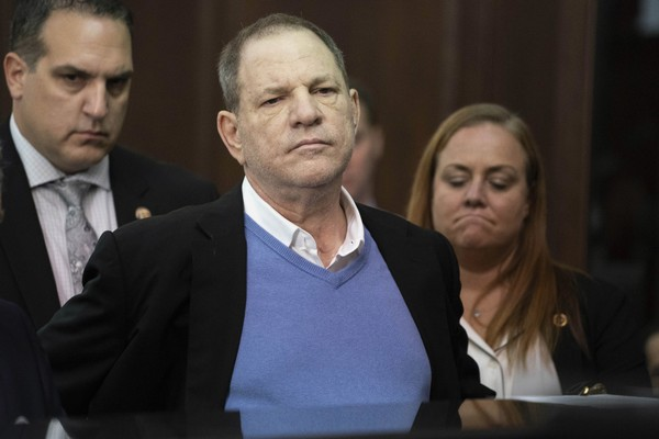 In this May 25, 2018 file photo, Harvey Weinstein listens during a court proceeding in New York