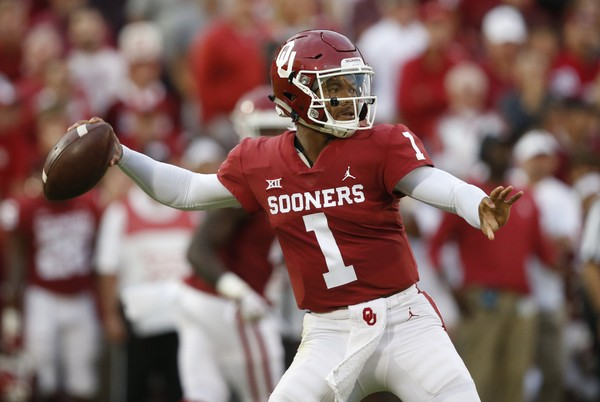 In this Sept. 22, 2018, file photo, Oklahoma quarterback Kyler Murray (1) throws in the first half of an NCAA college football game against Army. (AP Photo/Sue Ogrocki, File)