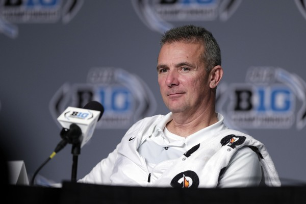 Ohio State head coach Urban Meyer takes part in a news conference following the Big Ten championship against Northwestern, early Sunday, Dec. 2, 2018, in Indianapolis. Ohio State won 45-24. (AP Photo/Michael Conroy)