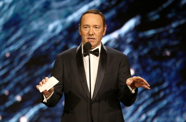 In this file photo, Kevin Spacey presents an award onstage at the 2017 AMD British Academy Britannia Awards at The Beverly Hilton Hotel in Beverly Hills, California.  (Frederick M. Brown/Getty Images, File)