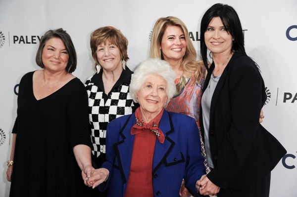 "From left, Mindy Cohn, Geri Jewell, Lisa Whelchel, Charlotte Rae, and Nancy McKeon, arrive at the 2014 PALEYFEST Fall TV Previews - ""The Facts Of Life"" Reunion on Monday, Sept.15, 2014, in Beverly Hills, Calif."