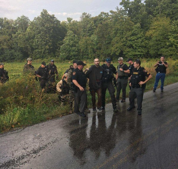 Shawn Richard Christy, 27, of McAdoo, Pennsylvania, is arrested Sept. 21, 2018, by federal, state and local authorities in northern Ohio, following a three-month manhunt related to threats against President Donald Trump and Northampton County District Attorney John Morganelli. (U.S. Marshals Service | For NJ Advance Media)