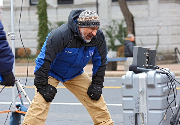 Weather Channel veteran Jim Cantore, pictured in this file photo, had a very close call with flying debris while covering Hurricane Michael in Florida. (Dick Blume | Syracuse.com)