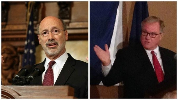 Gov. Tom Wolf, left, beat Republican challenger Scott Wagner in Tuesday's election. (AP file photos)