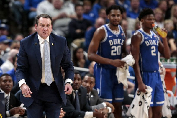 Duke coach Mike Krzyzewski reacts to a call during the second half of the team's victory over Kentucky at the Champions Classic in Indianapolis on Tuesday, Nov. 6, 2018. (AP Photo/AJ Mast)