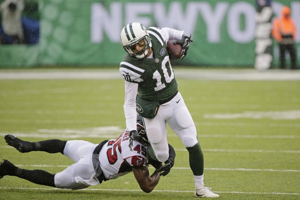 Atlanta Falcons' Deion Jones (45) tackles New York Jets' Jermaine Kearse (10) during the first half of an NFL football game Sunday, Oct. 29, 2017, in East Rutherford, N.J. (AP Photo/Seth Wenig)
