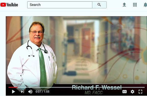 Dr. Richard Wessel in a YouTube video Canton-Potsdam Hospital produced in 2014 to introduce the cardiologist when he joined the hospital's medical staff. The video does not mention his two medical license suspensions in North Carolina.(Canton-Potsdam Hospital)