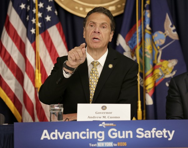 New York Gov. Andrew Cuomo speaks during a news conference in New York, Tuesday, June 5, 2018. Cuomo was announcing new gun control legislation that would aim to prevent mass shootings at schools. (AP Photo/Seth Wenig)