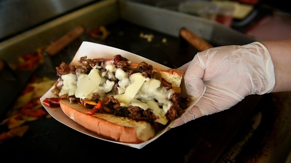 A Philly cheese steak sandwich from PB&J's Lunch Box food truck in Syracuse.