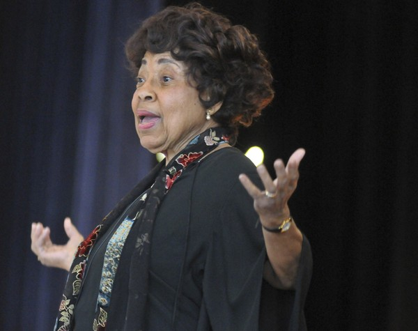 This 2014 photo shows Civil Rights leader Dorothy Cotton, speaking during VSU's Founders Day celebration in Chesterfield County, Va. The Southern Christian Leadership Conference announced that Cotton died Sunday, June 10, 2018. (Patrick Kane/ The Progress Index via AP)