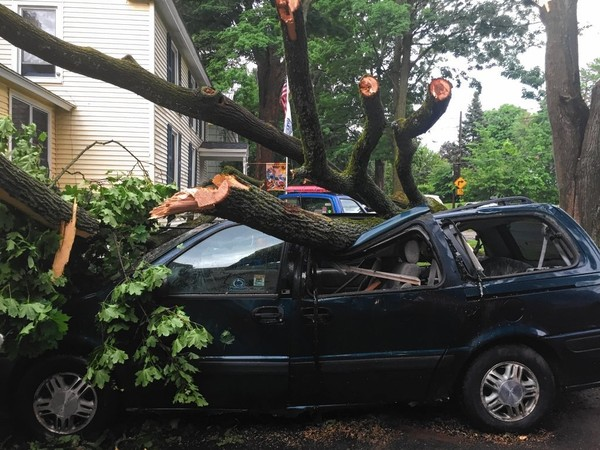 In this June 2016 file photo, a downed tree lies across a vehicle in the Oneida County village of Clinton. Strong storms are possible in Upstate New York today.