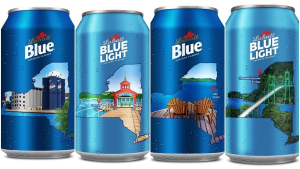 New cans from Labatt Blue and Blue Light highlight Upstate NY landmarks: Grain silos in Buffalo; Seneca Lake; Lake George and the Thousand Islands Bridge.