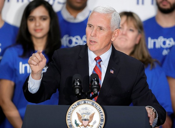 Vice President Mike Pence plans to visit Syracuse next to help raise campaign cash for Rep. John Katko. Pence is shown April 26, 2018, in Indianapolis.