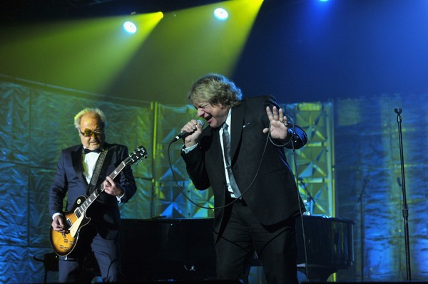 Mick Jones and Lou Gramm of Foreigner perform at the Songwriters Hall of Fame 44th Annual Induction and Awards Dinner at the New York Marriott Marquis on June 13, 2013 in New York City.