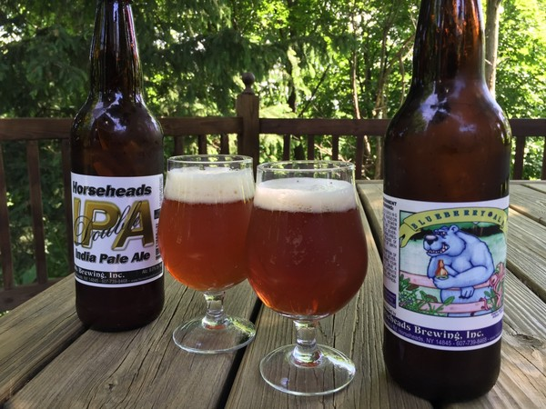 Double IPA and Blueberry Ale from Horseheads Brewing Co., Horseheads, N.Y. The brewery is closing on or before July 8.(Don Cazentre)