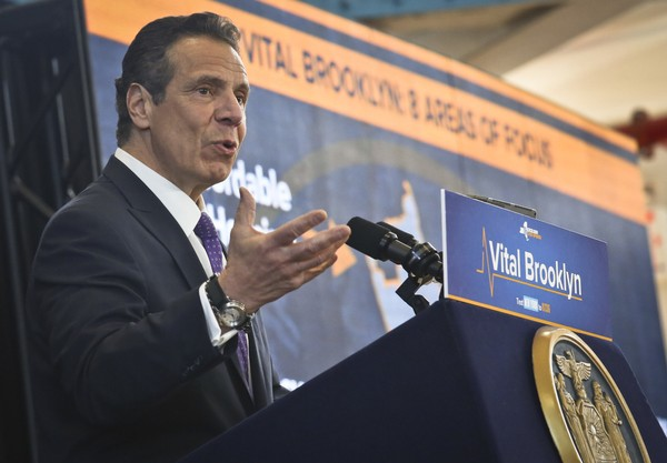 Gov. Andrew Cuomo speaks as he announced details of a $1.4 billion initiative for central Brooklyn called Vital Brooklyn, Thursday, April 26, 2018, in New York. (AP Photo/Bebeto Matthews)