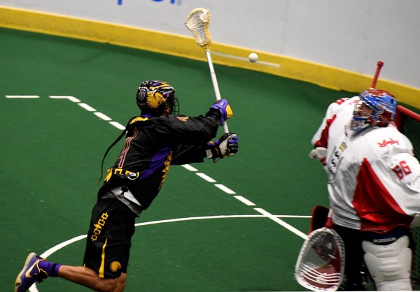 Lyle Thompson moves in on England goalie Nick Rose, during the Iroquois Nationals versus England at the Onondaga Nation Arena, in this 2015 file photo.