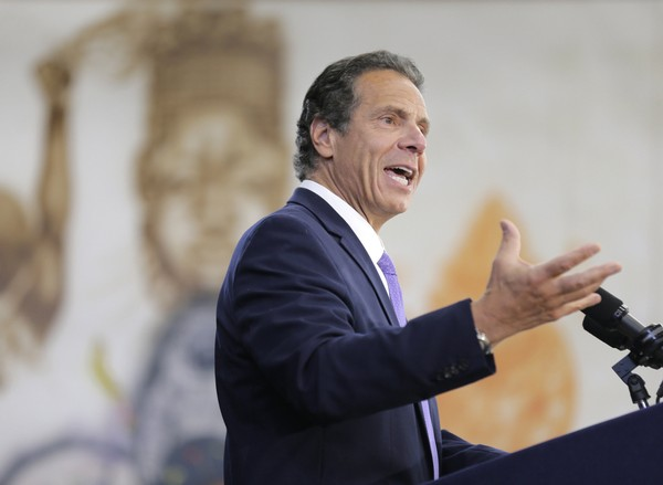 New York Governor Andrew Cuomo speaks at an event in the Brownsville section of Brooklyn in New York, Thursday, July 5, 2018. Cuomo is directing the state university system to continue policies that promote racial diversity among students after the Trump administration said the federal government will let schools leave race out of admission decisions.