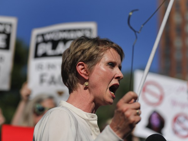 New York gubernatorial candidate Cynthia Nixon speaks during a pro-choice rally, Tuesday, July 10, 2018, in New York. Many Democrats and abortion-rights supporters believe a new conservative justice could tilt the court in favor of overturning Roe v. Wade.