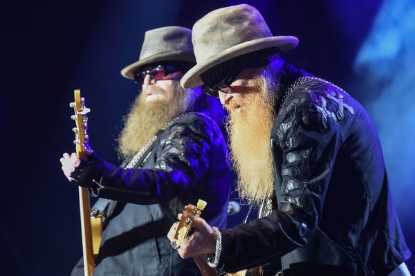 Members of the US band ZZ Top, Dusty Hill (L) and Billy Gibbons (R), perform on the stage during the 28th Eurockeennes rock music festival on July 3, 2016 in Belfort, eastern France.