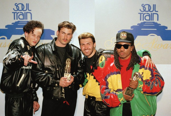 The music group Color Me Badd poses backstage with their awards at the 6th Annual Soul Train Awards in Los Angeles on March 10, 1992. From left to right are Sam Watters, Bryan Abrams, Mark Calderon and Kevin Thornton. (Douglas C. Pizac | AP)