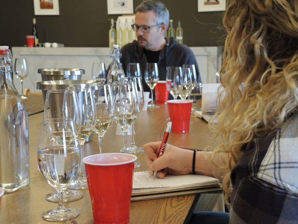 Anthony Road Wine Co. winemaker Peter Becraft, center, at a blending session for Tierce. It's made from blended Rieslings produced by Anthony Road, Fox Run Vineyards and Red Newt Cellars, all on Seneca Lake. (Kelli Shaffner | Fox Run Vineyards)