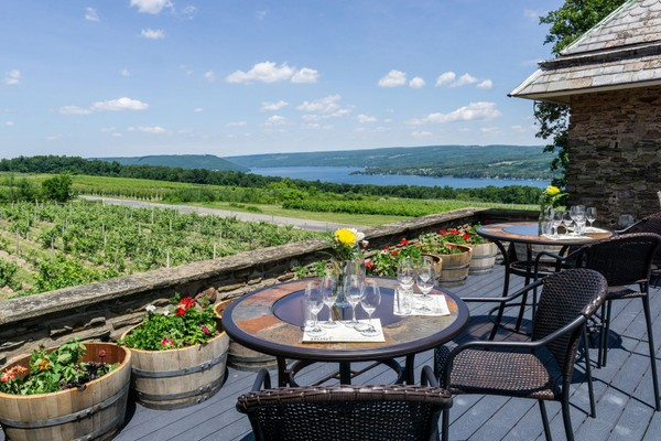 The Terrace at 1886 offers a curated wine tasting experience with a rooftop view of Keuka Lake at the Dr. Konstantin Frank Winery near Hammondsport. (Dr. Konstantin Frank Winery)