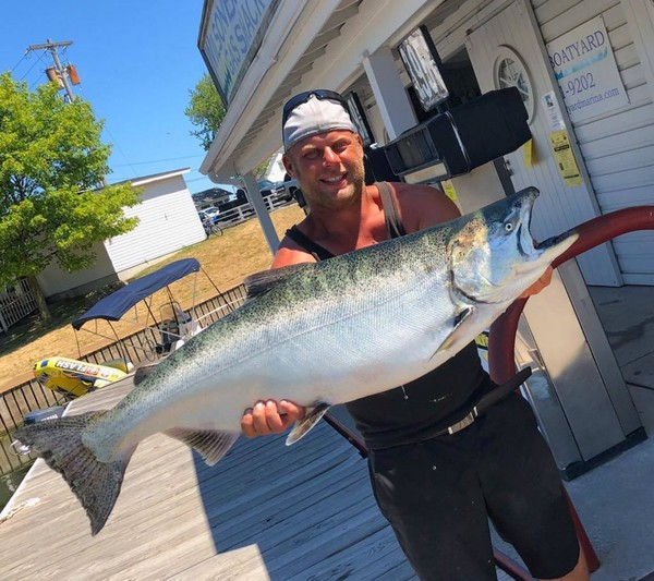 David Salvalzo  was trolling 70 feet down over 150-plus feet of water when he caught this 28-pound, 10-ounce Chinook salmon.