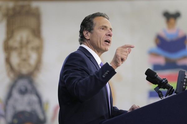 New York Governor Andrew Cuomo speaks at an event in the Brownsville section of Brooklyn in New York, Thursday, July 5, 2018. (AP Photo/Seth Wenig)
