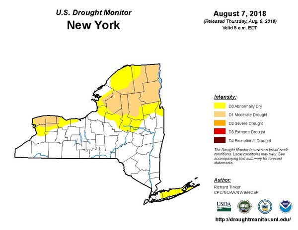 Twenty percent of New York state remains in a moderate drought (tan), while another 20 percent is considered abnormally dry (yellow). (U.S. Drought Monitor)