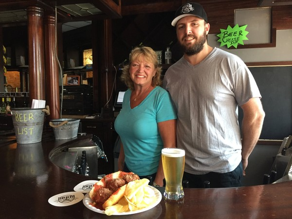 Sahm Brewing Co. in downtown Syracuse is now offering food, like the Meatball Sub, prepared by Tami Sahm, to pair with beers, like the Spud Lyte, made by her son, owner and brewer Ryan Sahm.(Don Cazentre)