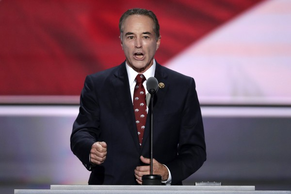 Rep. Chris Collins, R-NY., nominates Donald Trump as the Republican candidate for President during the second day of the Republican National Convention in Cleveland, Tuesday, July 19, 2016.