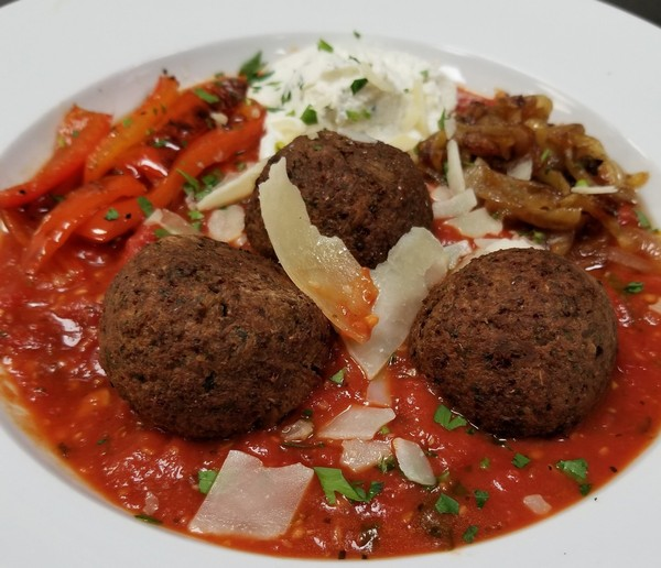Eggplant meatballs by Chef John D'Amore at Strada Mia 313 in Syracuse, N.Y.
