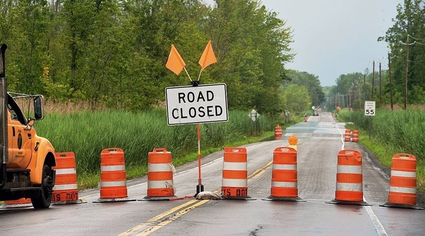 In this 2015 file photo, Route 298 south of Bridgeport, in Central New York, is closed due to flooding.(David Lassman | The Post-Standard)