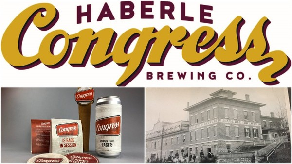 Two versions of 'Congress' beer in Syracuse: The logo for the new family-owned Haberle Congress (top); logos and material for the new Congress Beer partnership between the Onondaga Historical Association and Willow Rock Brewing (bottom left); and the original Haberle Brewery on Syracuse's North Side.