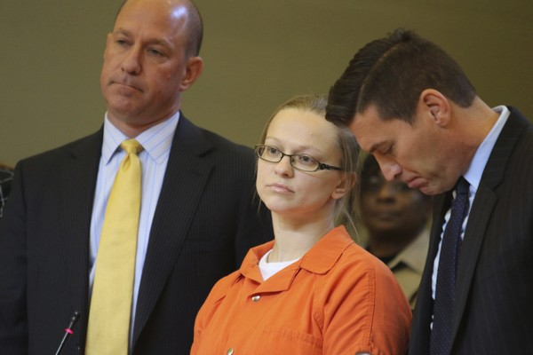 In this Nov. 8, 2017 file photo, Angelika Graswald stands with her attorneys Jeffrey Chartier, left, and Richard Portale during her sentencing at the Orange County courthouse in Goshen, N.Y.(Jim Sabastian | Times-Herald Record | AP)