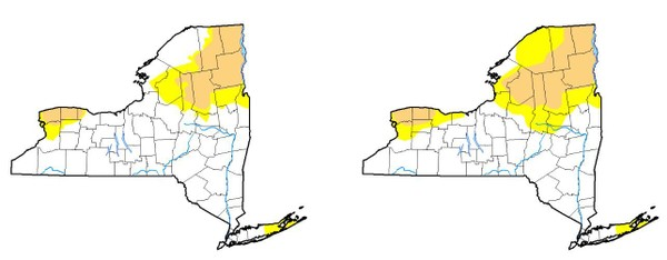 The portions of Upstate New York considered in a moderate drought (tan) and abnormally dry (yellow), fell from last week (right) to this week. (U.S. Drought Monitor)